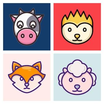 Krowa, Lis, Jeżozwierz I Owca Premium Wektorów