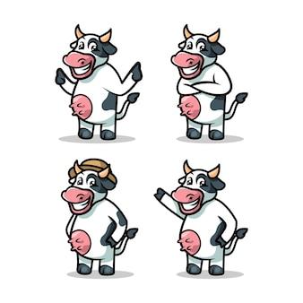 Krowa maskotka ilustracja szablon wektor zestaw z białym tłem