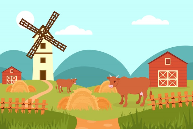 Krowa na tle letniego krajobrazu wiejskiego, gospodarstwa i wiatrak ilustracja w stylu