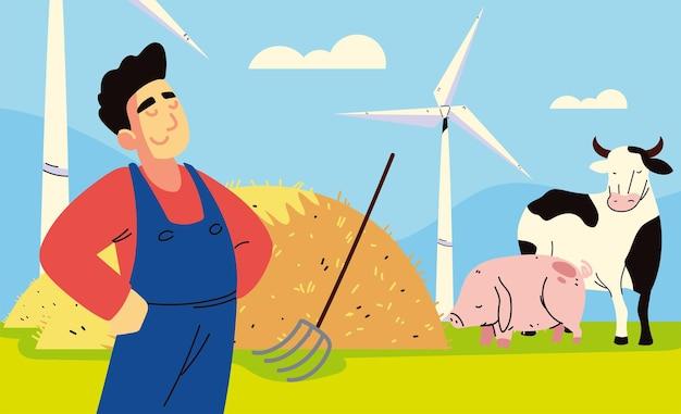 Krowa rolnik i świnia