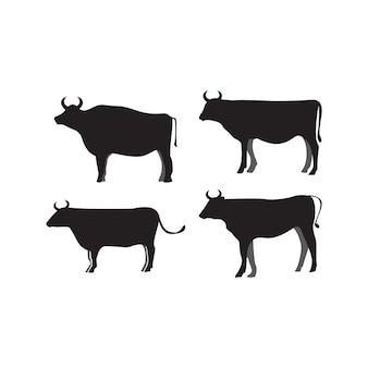 Krowa sylwetka ikona szablon wektor na białym tle