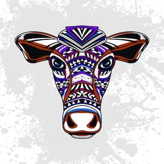 Krowa z abstrakcyjny wzór dekoracyjny