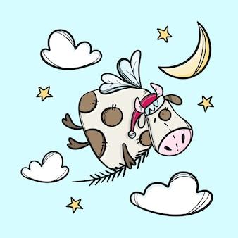 Krowa z oddziałem świątecznego drzewa i czapką mikołaja, flying in the sky