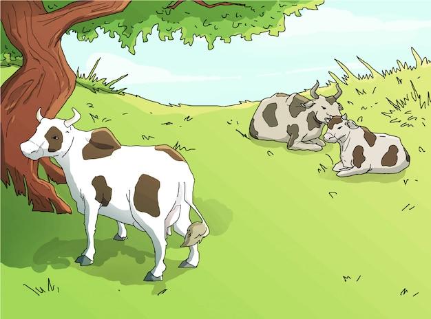 Krowy w zielonej łąkowej ilustraci
