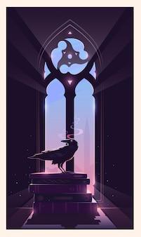 Kruk siedzi na książkach. gotyckie okno. stróż tajemnic.