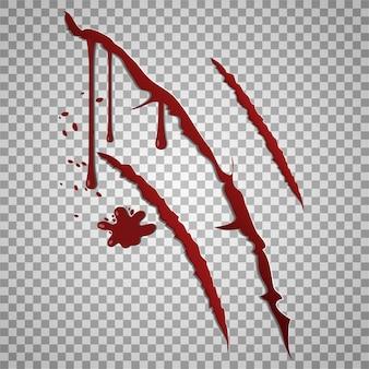 Krwawe ślady zadrapań na przezroczystym,