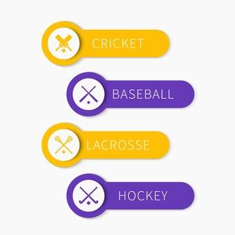 Krykiet, baseball, lacrosse, hokej na trawie, sporty zespołowe, banery