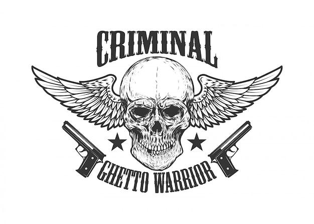 Kryminalista. skrzydlata czaszka z pistoletami. element plakatu, godła, druku, etykiety. wizerunek