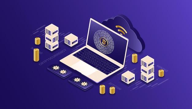 Kryptowaluta, bitcoin, blockchain, wydobycie, technologia, ilustracja izometryczna internetu iot