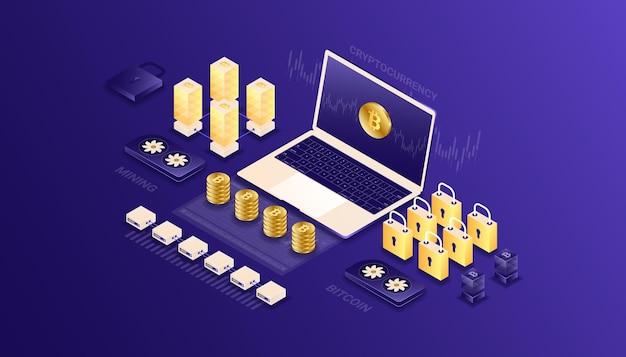 Kryptowaluta, bitcoin, blockchain, wydobycie, technologia, internet iot, bezpieczeństwo, ilustracja izometryczna deski rozdzielczej