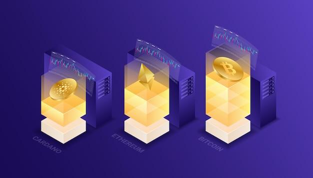 Kryptowaluta, bitcoin, ethereum, cardano, blockchain, wydobycie, technologia, internet iot, bezpieczeństwo, izometryczny ilustracja komputer cpu