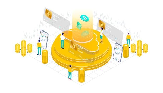 Kryptowaluta bitcoin ethereum cardano technologia wydobywania blockchain internet iot bezpieczeństwo izometryczny 3d płaska ilustracja