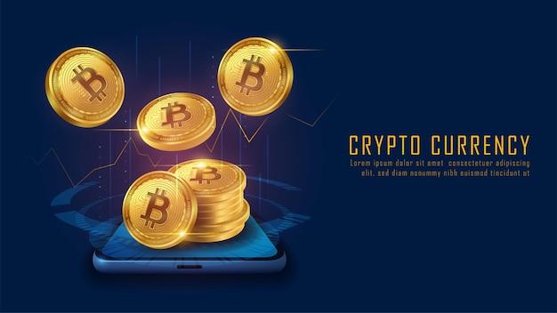 Kryptowaluta bitcoin ze stosem monet wychodzi ze smartfona, vector illustrator