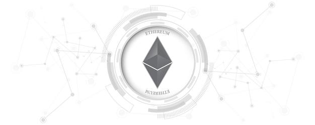 Kryptowaluta blockchain ethereum koncepcja technologii połączenia sieciowego pieniędzy cyfrowych