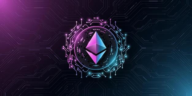 Kryptowaluta ethereum. cyfrowa moneta do prezentacji. komputerowa płytka drukowana. wektor blockchain
