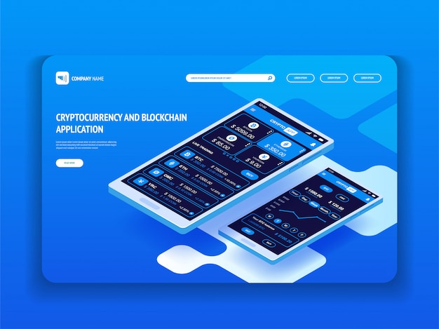 Kryptowaluta i aplikacja blockchain na smartfony. szablon nagłówka dla twojej witryny. wstęp.