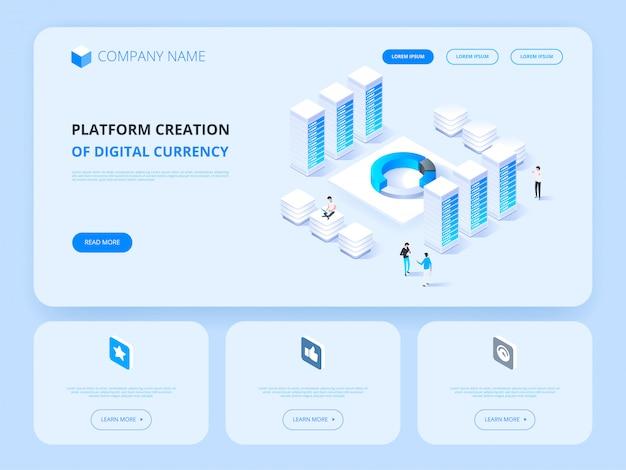 Kryptowaluta i blockchain. tworzenie platformy cyfrowej waluty. nagłówek strony internetowej. biznes, analityka i zarządzanie.