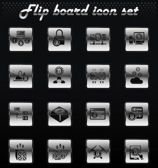 Kryptowaluta i górnictwo wektorowe odwracają mechaniczne ikony do projektowania interfejsu użytkownika