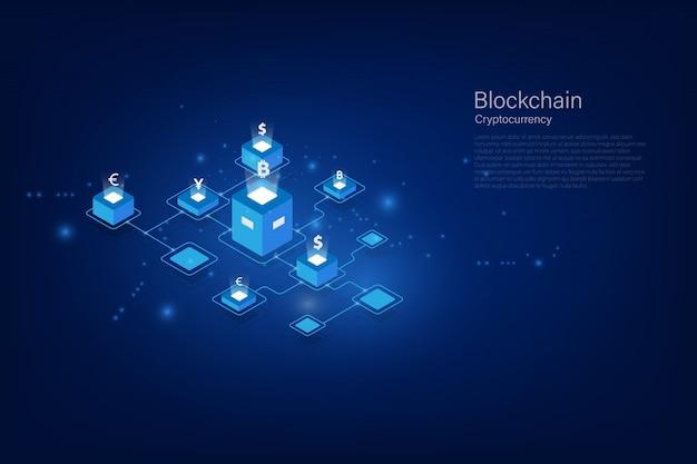 Kryptowaluta i izometryczny blok blockchain przelew pieniędzy. globalna waluta. giełda papierów wartościowych. stockowa ilustracja wektorowa.
