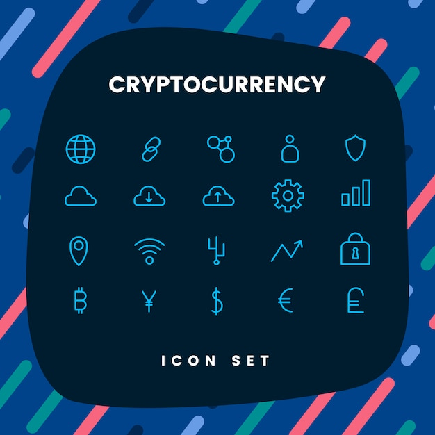 Kryptowaluta ustawić elektroniczny symbol wektor gotówki