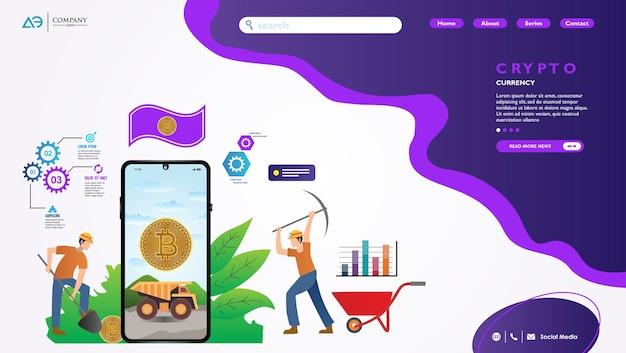 Kryptowaluta z płaską ilustracją strony docelowej bitcoin litecoin i ethereum