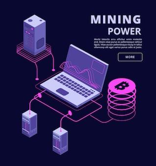 Kryptowaluty, blockchain, handel tokenami, farmy bitcoinów i ico wektor 3d izometryczny infographic