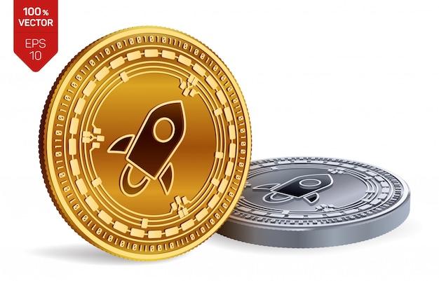 Kryptowaluty złote i srebrne monety z gwiezdnym symbolem na białym tle.
