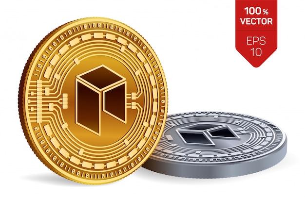 Kryptowaluty złote i srebrne monety z neo symbol na białym tle.