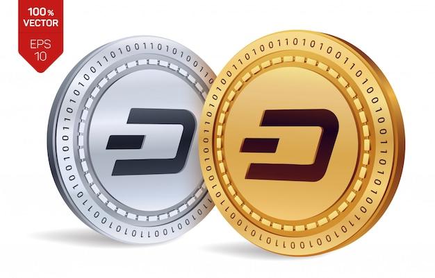 Kryptowaluty złote i srebrne monety z symbolem dash na białym tle.