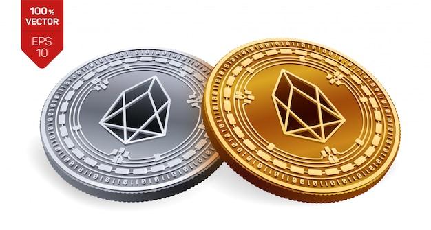 Kryptowaluty złote i srebrne monety z symbolem eos na białym tle.
