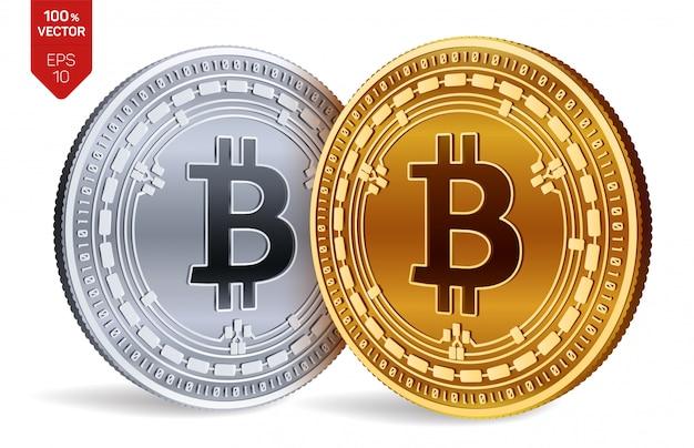 Kryptowaluty złote i srebrne monety z symbolem gotówki bitcoin na białym tle.