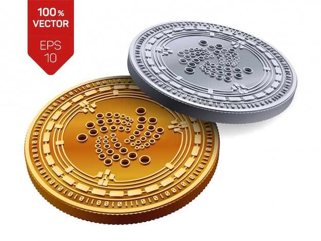 Kryptowaluty złote i srebrne monety z symbolem iota na białym tle.