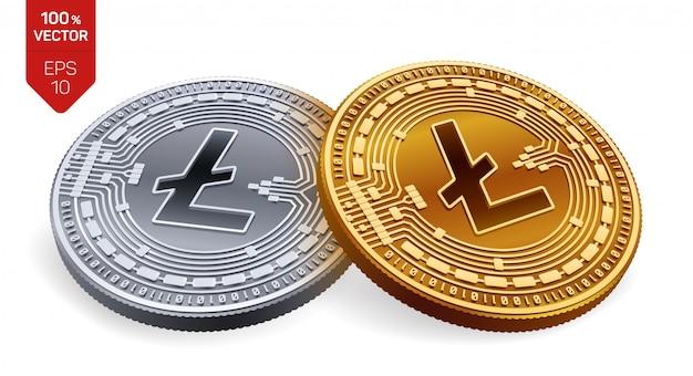 Kryptowaluty złote i srebrne monety z symbolem litecoin na białym tle.