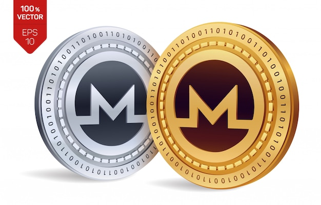 Kryptowaluty złote i srebrne monety z symbolem monero na białym tle.