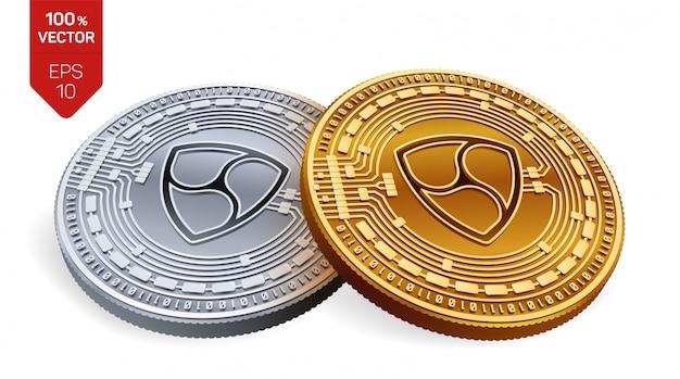 Kryptowaluty złote i srebrne monety z symbolem nem na białym tle.