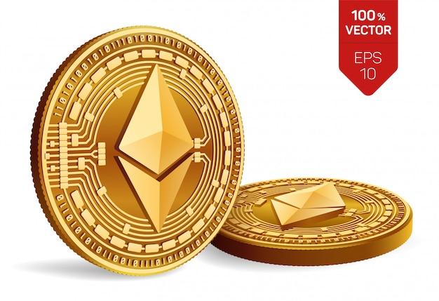 Kryptowaluty złote monety z ethereum symbolem odizolowywającym na białym tle.