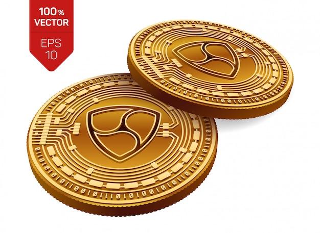 Kryptowaluty złote monety z symbolem nem na białym tle.