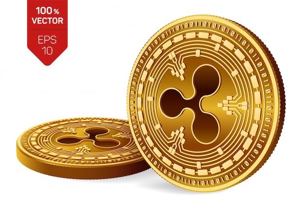 Kryptowaluty złote monety z symbolem tętnienia na białym tle.