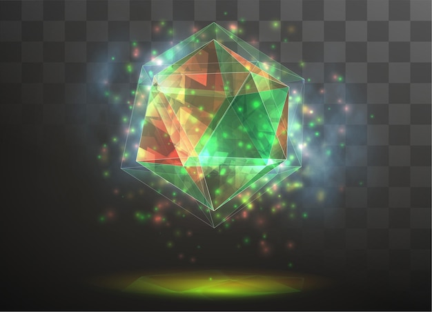 Kryształ 3d na przezroczystym, wymiennym tle. energia i magia.