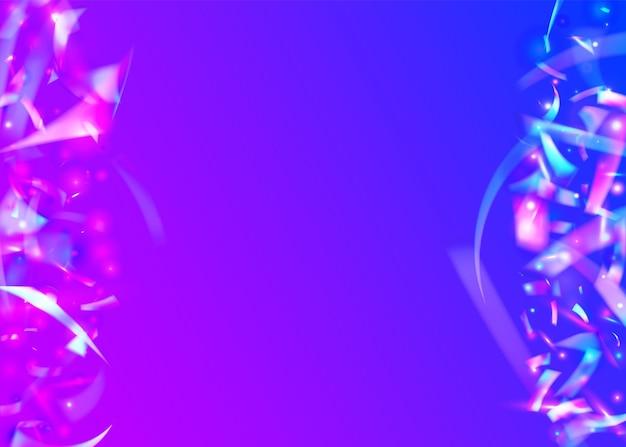 Kryształowe błyszczy. folia luksusowa. błyszczący sztandar. różowa metalowa tekstura. konfetti holograficzne. sztuka glamour. błyskotka bokeh. rozmyj pryzmatyczną serpentynę. fioletowe kryształowe błyski