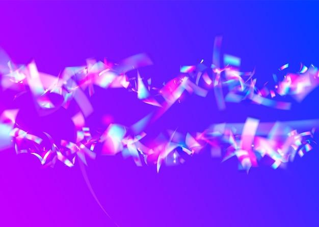 Kryształowe błyszczy. różowy retro tło. jasna folia. imprezowa flara. tęczowe konfetti. sztuka współczesna. laserowe kolorowe światło słoneczne. przezroczysty brokat. fioletowe kryształowe błyski