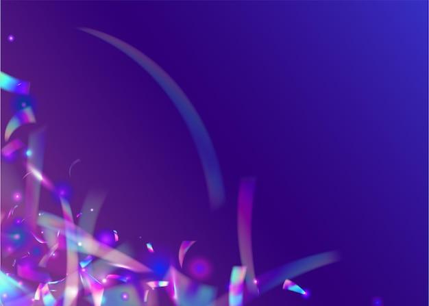 Kryształowe błyszczy. sztuka luksusu. folia glamour. błyszczący rozbłysk. fioletowy efekt dyskotekowy. metalowe streszczenie ilustracja. blask kalejdoskopu. spadające konfetti. różowe kryształowe błyski
