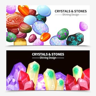 Kryształowe kamienie i skały banery