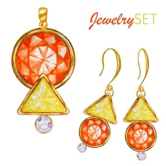 Kryształowe koraliki w kształcie trójkąta ze złotym elementem.