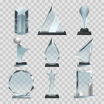 Kryształowe trofeum lub nagrody na przezroczystym. szklana kryształowa nagroda, przezroczyste trofeum. ilustracji wektorowych