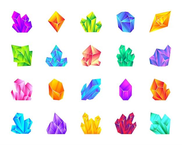 Kryształowy kamień mineralny ametyst, rubin, topaz, szmaragd, kwarc, słone lody kreskówka zestaw ikon.