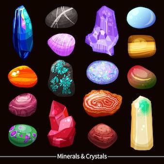 Kryształy kamienie i skały ustawić tło