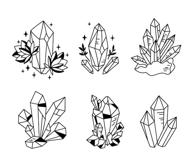 Kryształy lub kamienie jubilerskie cliparty pakiet doodle kolekcja klejnotów biżuteria kamień lub diament zestaw wektor