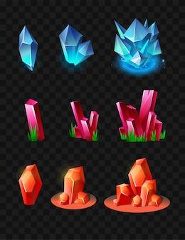 Kryształy - realistyczny nowoczesny wektor zestaw różnych minerałów. czarne tło. użyj tej wysokiej jakości grafiki clipart do prezentacji, banerów i ulotek. niebieskie, pomarańczowe i karmazynowe nagrody, żetony, żetony