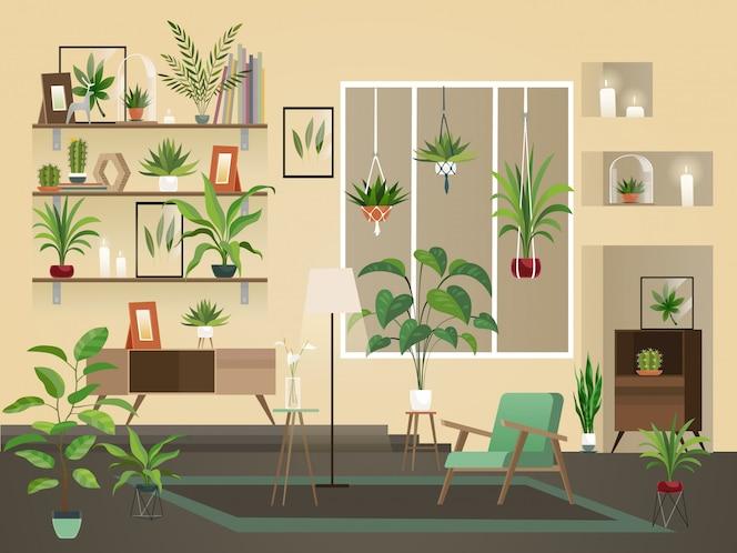 Kryte kwiaty do pokoju. wnętrze domu miejskiego, salon z roślinami, krzesłami i wazą